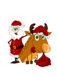 Cheerful Santa Claus and reindeer