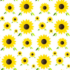 Seamless Pattern Made from Yellow Sunflowers