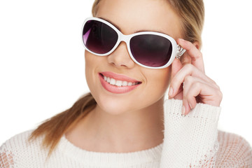 young blond woman with sunglases,