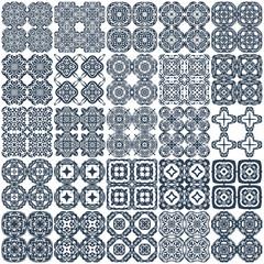 Set of 25 geometrical seamless patterns. Vector.