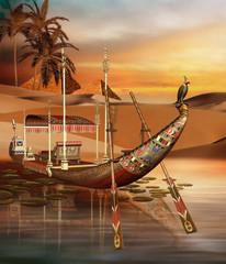 Starożytna egipska łódź na rzece
