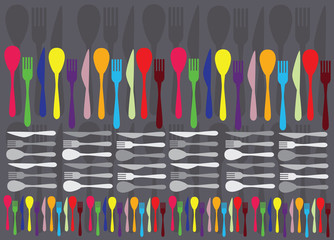 spoons, forks and knifes creating colorful vector background