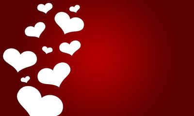 love valentine with white hearts on red background