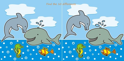find the 10 differences - marine life