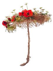 Decorative umbrella from burlap, mats and artificial poppy flowe