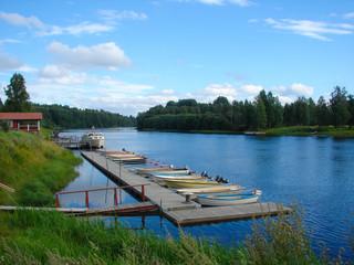 Wooden dock, marina for boats