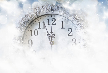 New Year's at midnight - old vintage clock