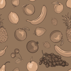 vector seamless sepia pattern of fruits