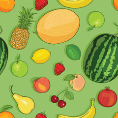 vector seamless pattern of fruits on green background