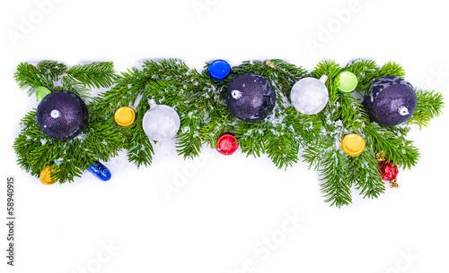 weihnachtszweige geschm ckt mit schnee stockfotos und. Black Bedroom Furniture Sets. Home Design Ideas