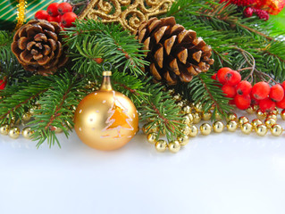 Christmas composition with the branches of fir