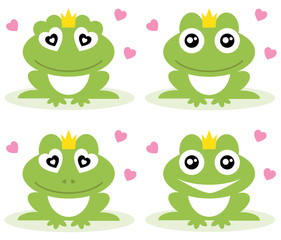 Vector illustration of green frogs