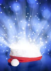 Santa Claus red hat on bokeh background