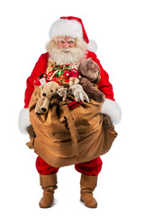Full length of Real Santa Claus carrying big bag full of gifts