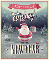 Canvas Print - New Year Poster with Santa. Vector illustration.