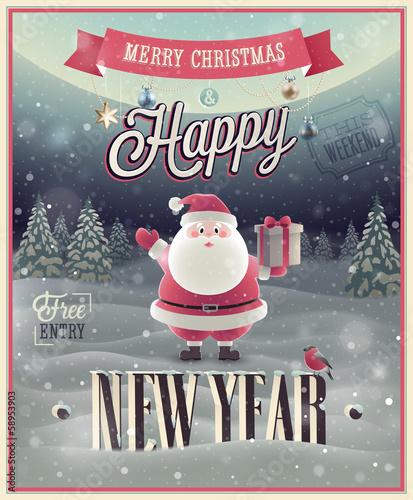 Wall mural New Year Poster with Santa. Vector illustration.
