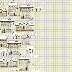 Town background with hand drawn elements.
