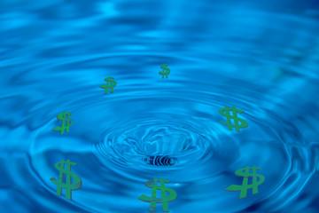 abstract drain money, bankruptcy, green dollars