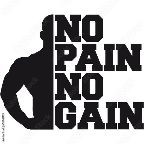 No Pain Gain Bodybuilding Logo Design
