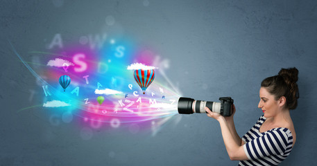 Photographer with camera and abstract imaginary