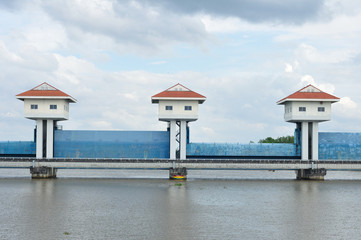 Landscape view, barrage towers in Thailand.