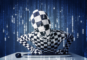 Hacker in body mask decoding information from futuristic network