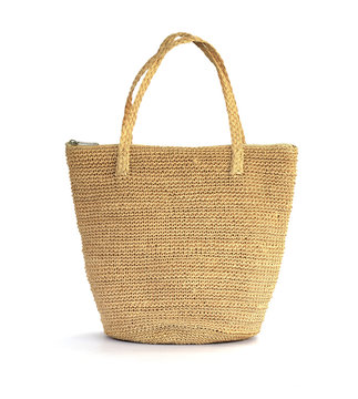 Straw bag on a white background