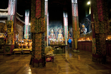 Tibetan Buddhism temple inside