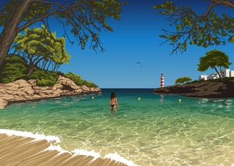 Vector drawing of the Majorca beach