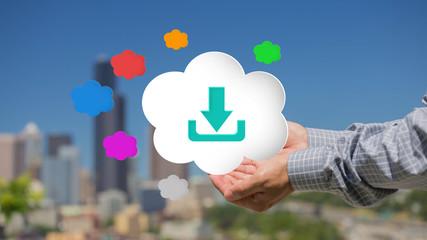 Business men hand holding cloud computing concept