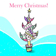 Illustration of a stylized Christmas tree.