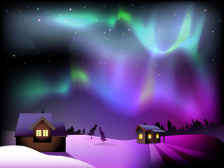 Aurora borealis and houses on Christmas Eve