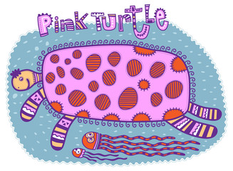 Floating fun pink turtle