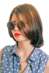 retro glasses girl closeup