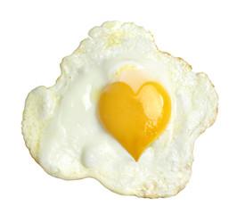 Printed kitchen splashbacks Egg Fried egg with heart form yolk, isolated on white background