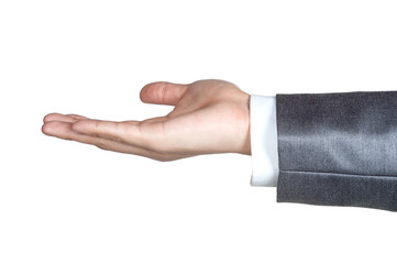 business man hand sign suit  isolated