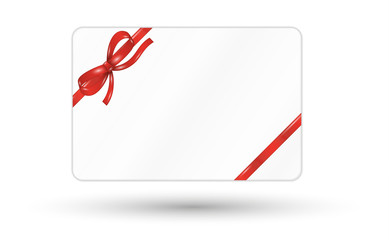 gift card with red ribbon and bow