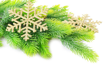 Christmas  decorative snowflakes  on fir tree, isolated on
