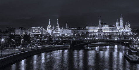 View of the Moscow Kremlin from the bridge of the Temple