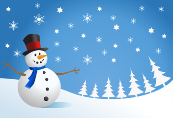 Snowman, vector illustration