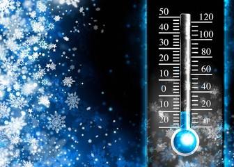 Below zero. Cold thermometer, minus temperature in cold  winter