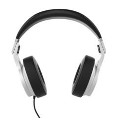 Silver musical headphones.