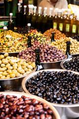 Assortment of olives on local market,Tel Aviv,Israel