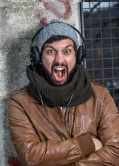 beard man hearing music