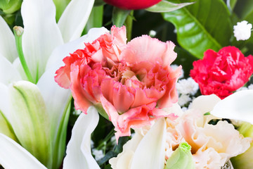 Beautiful carnation, lilly and rose flowers.