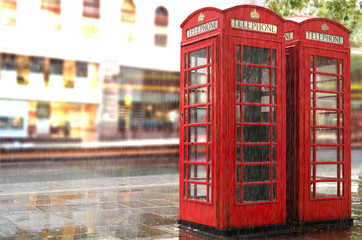 Fototapete - Rainy day.Red Phone cabines in London