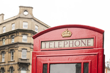 Fototapete - Red Phone cabine in London.