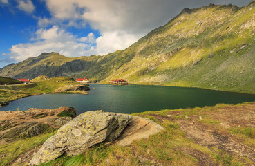 Alpine lake and restaurant on a lake,Balea lake,Fagaras mountain