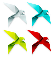 Set of colorful origami bird. Vector EPS 10
