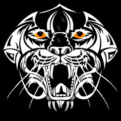 Drawing tiger head abstract style